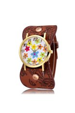 JIANGYUYAN New Leather Strap Quartz Watch Women Dress Watch Flower Design Fashion Casual Wristwatch-Coffee