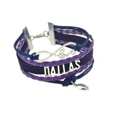 Jiayiqi Dallas Showy Color Handmade Braided Leather Bangle Charm Bracelet