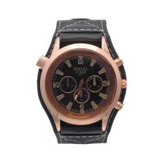 JinGle Men's Faux Leather Three Eye Big Dial Sport Quartz Wrist Watch (Black)