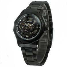 JinGle Men's Mechanical Analog Stainless Steel Wrist Watch (Black)