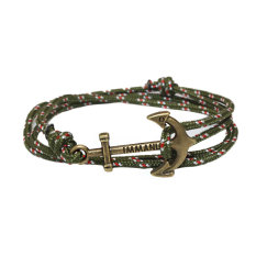 JinGle Multilayer Leather Handmade Rope Wristband Anchor Bracelet Bangle (Army Green)
