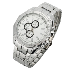 GE Luxury Men's Fashion Stainless Steel Band Sport Quartz Business Analog Watch Wristwatches (White) (Intl)