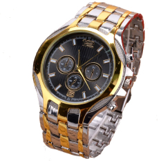 GE New Men's Fashion Sport Business Stainless Steel Belt Quartz Watch Wristwatches (Black)