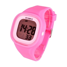 GE Waterproof Silicone Candy Color Square LED Digital Casual Sports Wrist Watch (Pink)