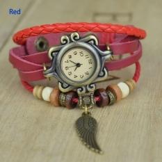 GE 5 Colors Quartz Weave Wrap Synthetic Leather Bracelet Women Wrist Watch (Coffee) (Intl)