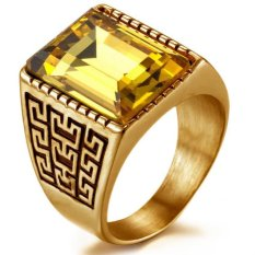 JOY 18 k gold man ring pattern ring