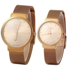 Julius JA - 426 Couple Ultrathin Stainless Steel Mesh Band Quartz Wrist Watch - Intl
