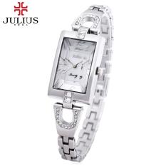 JULIUS JA - 443 Female Quartz Watch Stereo Mirror Artificial Diamond Slender Stainless Steel Band Wristwatch (White)