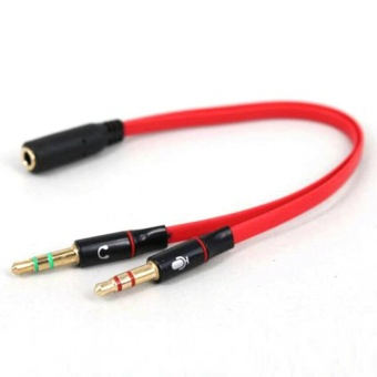KABEL AUX 3.5mm splitter MERAH MIC HEADPHONE Jack Audio 1 Female to 2 Male Splitter Y