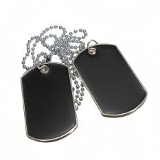 Keren gaya tentara militer dibetulkan Hitam 2 tag kecantikan haid pasangan anjing rantai kalung