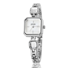 Kezzi Square Ladies Watch Natural shell surface Simple Alloy bracelet watch female students, (Silver) (Intl)
