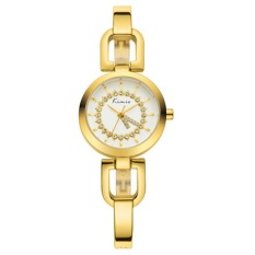 Kimio Dial Zircon Material Crystal Mirror Surface Watchband Fashion Female Quartz Watch with Alloy Band (Gold) (Intl)