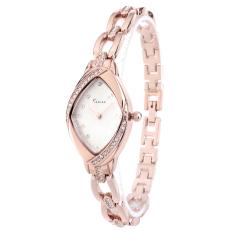 Kimio KW6010S RG01 Womens Elegant Rhinestone Bracelet Quartz Watch Fashion Ladies Dress Watches Rose Gold / White