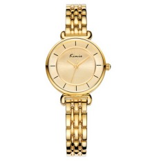 Kimio Rhinestone & Roman Number Small Simple Round Dial Women Quartz Watch with Alloy Band (Gold) (Intl)