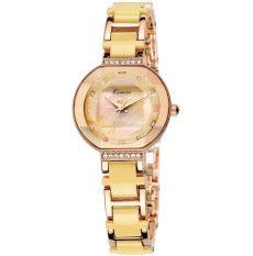 Korean Fashion Women Quartz Watch Top Brand Luxury Imitation Ceramic Wristwatch Gold (Intl)