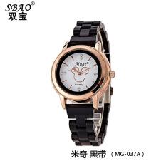 Korean fashionable ceramic watches lady diamond dial watch Black