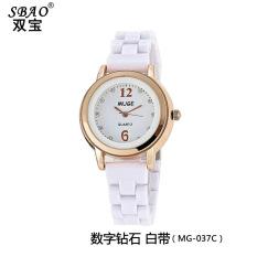Korean fashionable ceramic watches lady diamond dial watch White