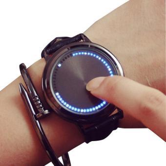 Kreatif minimalis pasang kulit tahan air layar sentuh LED menonton pria dan wanita pecinta arloji jam