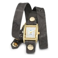 La Mer Collections Women's LMWTW103.14k Gold-Plated Watch With Grey Leather Wrap-Around Band (Intl)