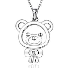 La Vie Sterling Silver Zircon Mini Bear Pendant Necklace(Silver)