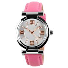 Ladies Fashion PU Leather Damen Quartz Watch Strap Watch Waterproof Watch Pink (Intl)