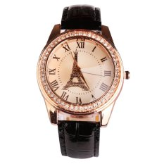 Lady Eiffel Tower Diamond Fashion Style Watch Black - intl