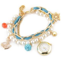 Lady Womens Retro Anchor Rudder Bracelet Bead Watch (Blue) - Intl - intl