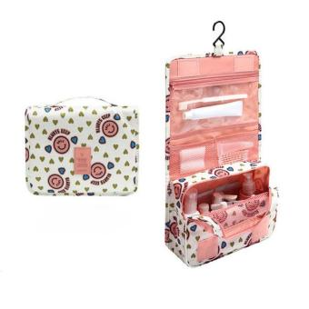 LALANG Cute Multi-function Smiley Portable Folding Travel ToiletryHanging Wash Bag Ladies Make Up Cosmetic Bags (Pink)