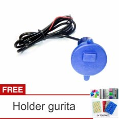 Lanjarjaya USB Charger Motor Waterproof Cas HP di motor - Biru + Holder Gurita