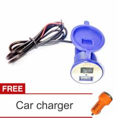 Lanjarjaya USB Charger Motor Waterproof Cas HP di motor + Car Charger(Biru)