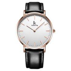 lanyasy IK colouring Ultra Thin Minimalist Mens Watches Top Brand Luxury Genuine Leather Strap Fashion Casual Quartz Watch Business Man (Black)