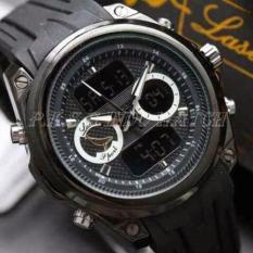 Lasebo - Dual Time - Jam Tangan Sport Pria - Rubber Strap - LSB947411 (Black)