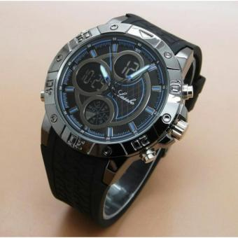 Lasebo Dual Time LSB6257 - Jan Tangan Pria - Rubber Strap - Black