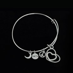 Latest Trendy Girl's Lover's Double Heart Stainless Steel Alex and Ani Charm Bracelet Bangle with Expandable Wiring (Intl)