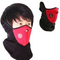 Lbag Motorcycle Polar buff Ski Half Face Mask Masker Motor Air Thermal Supermask Filter Udara Sky 3M - Merah