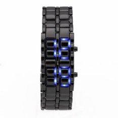 Iron Samurai - Jam Tangan Pria - Hitam-Biru - Strap Stainless Steel - LED825
