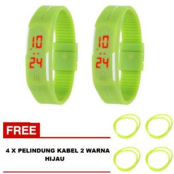 LED Watch Sporty Men Hijau 2 Buah + Free 4 Buah Pelindung Kabel 2 Warna Hijau
