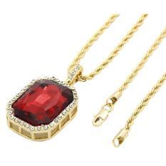 Leegoal Mens14k emas berlapis es keluar Merah Ruby Oktagon hip-hop aksesoris dengan 3 mm pasangan 24 inci gaya jalan tali rantai Merah