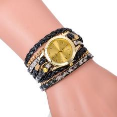 Leopard Grain Woven New Fashion Design New Arrive Women Luxury Brand Quartz Wris Black (Intl)