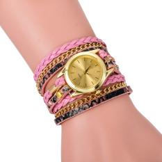 Leopard Grain Woven New Fashion Design New Arrive Women Luxury Brand Quartz Wris Pink (Intl)