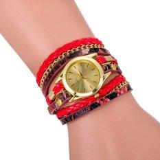 Leopard Grain Woven New Fashion Design New Arrive Women Luxury Brand Quartz Wris Red (Intl)