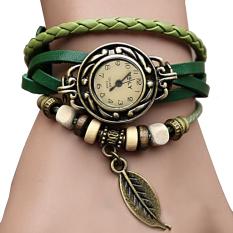 Linemart Synthetic Leather Quartz Bracelet Women Wrist Watch Green (Intl)