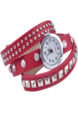 Linemart Women Retro Fashion Rivet Synthetic Leather Strap Bracelet Watch (Red) (Intl)