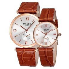 LONGBO Genuine Leather Strap Watches Rome Dial Silver Case Men Women Fashion Waterproof Lovers' Watch Times Buckle Clasp---Coffee Rose-gold White (Male)