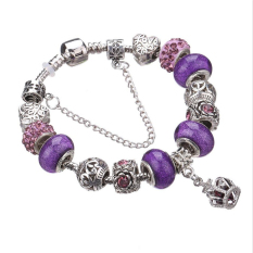 LongWay 2016 New Fashion 925 Silver Charm Bracelet For Women Royal Crown Bracelet Purple Crystal Beads Diy Jewelry