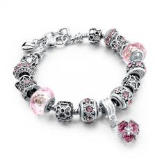 LongWay European Style Authentic Tibetan Silver Blue Crystal Charm Bracelets For Women Original DIY Beads Jewelry