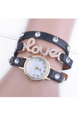 Love Cz Dial Wrap Around Synthetic Leather Bracelet Wrist Watch (Black)