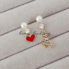 LoveS925 Jepang dan Korea Selatan merah peach hati anting Perak Needle anting