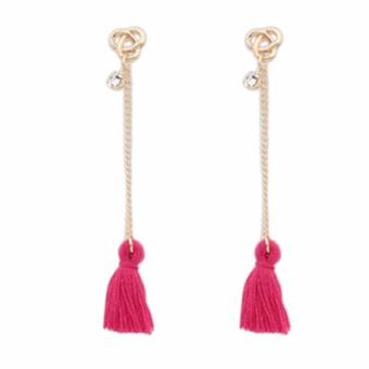 LRC Anting Bohemia Diamond Decorated Tassel Design Alloy Stud Earrings