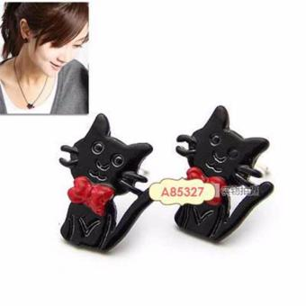 LRC Anting Infant Black cute cat alloy Stud Earrings